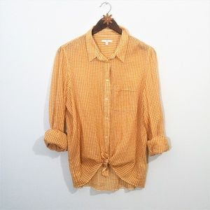 Gap Caramel Gingham Button Down Shirt Large